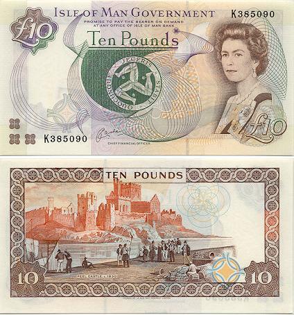 """男人岛上的钱币,发行单位为""""男人岛政府"""",与英镑等值"""
